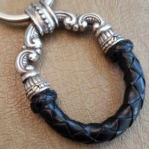 NWTs Brighton Key Chain Key Fob Black Leather
